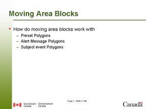 Moving Area Blocks How do moving area blocks
