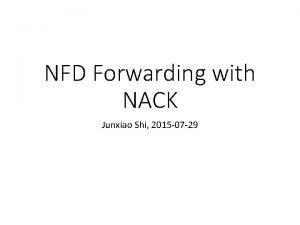 NFD Forwarding with NACK Junxiao Shi 2015 07