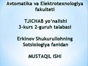 Avtomatika va Elektrotexnologiya fakulteti TJICHAB yonalishi 3 kurs