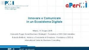Innovare e Comunicare in un Ecosistema Digitale Milano