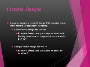 Factorial Designs Factorial design a research design that