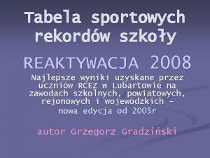 Tabela sportowych rekordw szkoy REAKTYWACJA 2008 Najlepsze wyniki