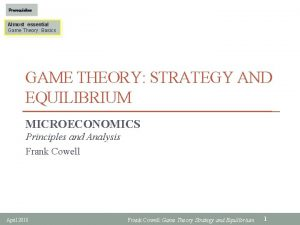 Prerequisites Almost essential Game Theory Basics GAME THEORY