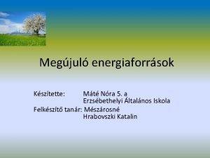 Megjul energiaforrsok Ksztette Mt Nra 5 a Erzsbethelyi