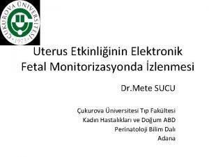 Uterus Etkinliinin Elektronik Fetal Monitorizasyonda zlenmesi Dr Mete