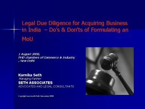 Legal Due Diligence for Acquiring Business in India