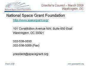 Directors Council March 2009 Washington DC National Space