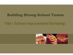 Building Strong School Teams Title I School Improvement