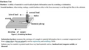 Hardness Test Hardness is ability of materials to