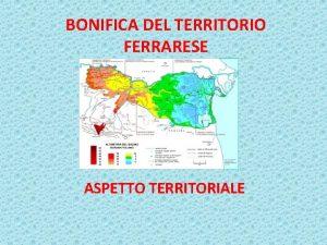 BONIFICA DEL TERRITORIO FERRARESE ASPETTO TERRITORIALE Situazione del