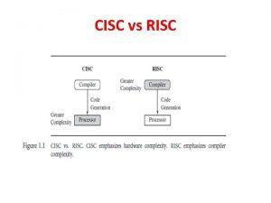CISC vs RISC RISC Design Instructions ARM design