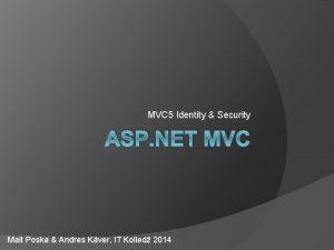 MVC 5 Identity Security ASP NET MVC Mait
