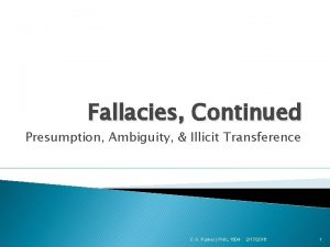 Fallacies Continued Presumption Ambiguity Illicit Transference C G