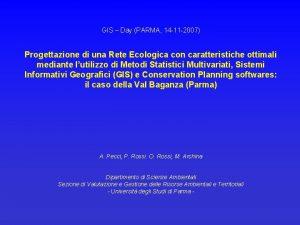 GIS Day PARMA 14 11 2007 Progettazione di