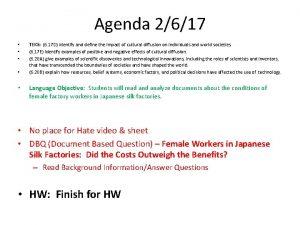 Agenda 2617 TEKS 6 17 D identify and