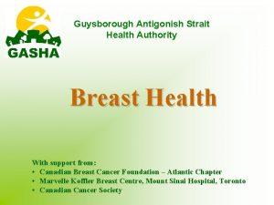 Guysborough Antigonish Strait Health Authority Breast Health With