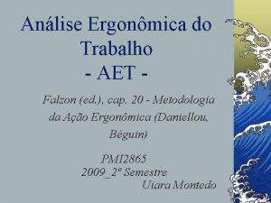 Anlise Ergonmica do Trabalho AET Falzon ed cap
