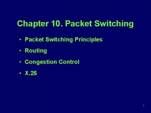 Chapter 10 Packet Switching Packet Switching Principles Routing
