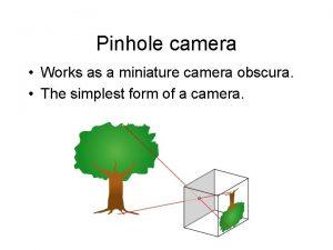 Pinhole camera Works as a miniature camera obscura