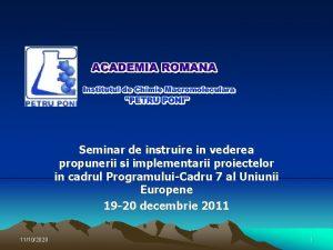 Seminar de instruire in vederea propunerii si implementarii