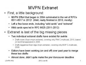MVPN Extranet First a little background MVPN Effort
