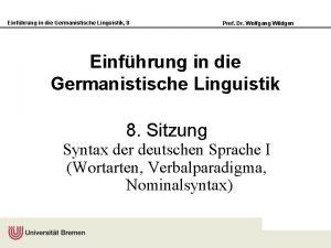 Einfhrung in die Germanistische Linguistik 8 Prof Dr