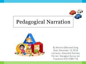 Pedagogical Narration By Arianna Geunae Kang Date December