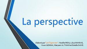 La perspective Elabor parLes Tigresses Noellie RIOU Lilya