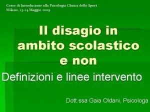 Corso di Introduzione alla Psicologia Clinica dello Sport