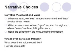 Narrative Choices Narrative Viewpoint and Voice q When