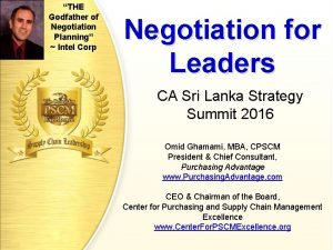 THE Godfather of Negotiation Planning Intel Corp Negotiation