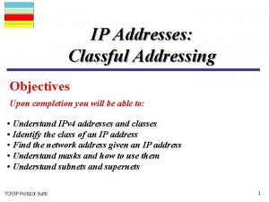IP Addresses Classful Addressing Objectives Upon completion you