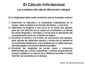 El Clculo Infinitesimal Los creadores del clculo diferencial