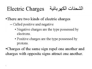Electric Charges There are two kinds of electric