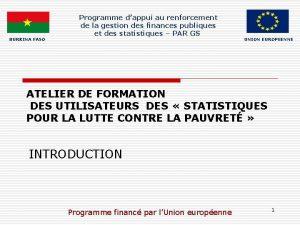 BURKINA FASO Programme dappui au renforcement de la