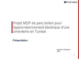 Projet MDP de parc olien pour lapprovisionnement lectrique