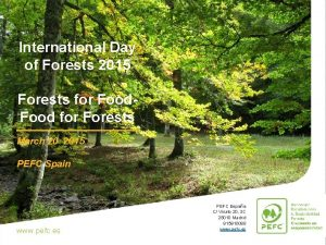 International Day of Forests 2015 Forests for Food