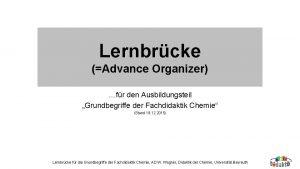 Lernbrcke Advance Organizer fr den Ausbildungsteil Grundbegriffe der