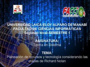UNIVERSIDAD LAICA ELOY ALFARO DE MANAB FACULTAD DE