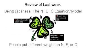 Review of Last week Being Japanese The NEC