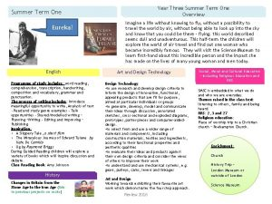 Year Three Summer Term One Overview Summer Term