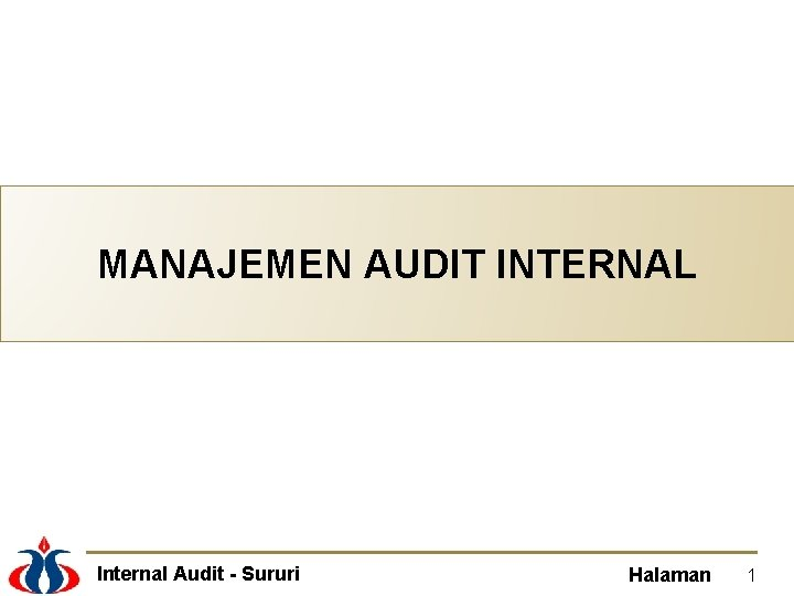 MANAJEMEN AUDIT INTERNAL Internal Audit Sururi Halaman 1