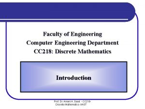 Faculty of Engineering Computer Engineering Department CC 218