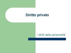Diritto privato I diritti della personalit I diritti