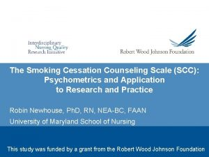 The Smoking Cessation Counseling Scale SCC Psychometrics and