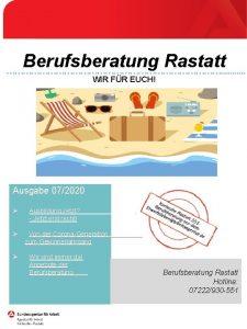 Berufsberatung Rastatt WIR FR EUCH Ausgabe 072020 Ausbildung