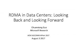 RDMA in Data Centers Looking Back and Looking