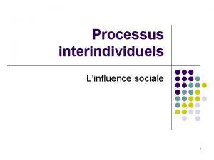 Processus interindividuels Linfluence sociale 1 La psychologie sociale