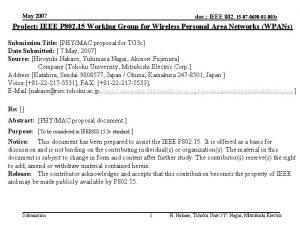 May 2007 doc IEEE 802 15 07 0690