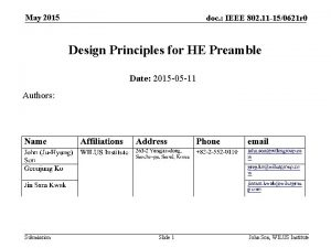 May 2015 doc IEEE 802 11 150621 r